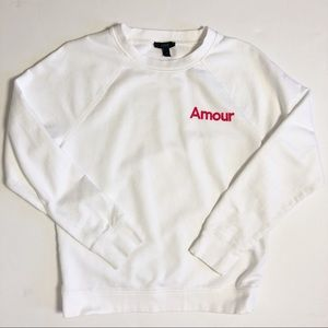 JCrew Amour Crewneck Sweatshirt white medium